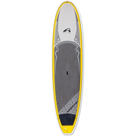 Wake Take the 11 ft. 10 in. Amundson Source stand up paddleboard for a spin and enjoy best-in-class stability. 34 in. width, 250L volume and 300 lb. capacity means 11 ft. 10 in. Amundson Source paddleboard rides high in the water and feels rock-solid underfoot. It's perfect for first-time paddlers, large paddlers, tandem rides with the kids or tandem rides with a furry, 4-legged buddy. Epoxy and fiberglass layered over an EPS foam core creates lightweight flotation with high durability. Slight rocker and smooth outline enhance tracking on flatwater and maneuverability in light surf. Flat bottom enhances stability and flat deck makes for a more comfortable standing area. You'll have an easy time staying on the board thanks to the high traction of the EVA deck pad; deck pad extends all the way to the nose to give tandem riders extra traction. 10 in. center fin enhances tracking. Grip and carry the 34 lb. board at the center of the board with the heavy-duty molded handle. Includes tie-down points on forward deck for PFDs or gear. - $1,231.93