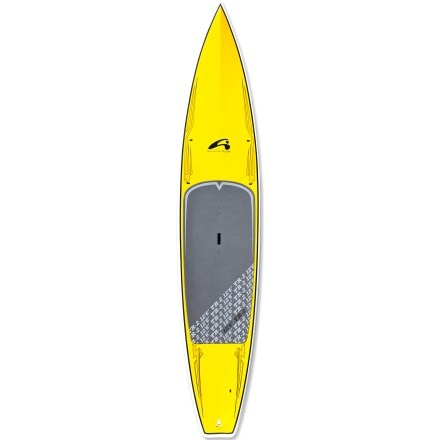 Wake Featuring an updated hull and nose for increased speed, the 12 ft. 6 in. Amundson TR-2 stand up paddleboard cuts a smooth, speedy wake during tours and races. Suited to paddlers up to 230 lbs., the 12 ft. 6 in. Amundson TR-2 stand up paddleboard offers racers a popular length with high stability. Shaped to enhance balance and comfort on the water, the 12 ft. 6 in. TR-2 also excels at flatwater touring. Epoxy and fiberglass layered over an EPS foam core creates lightweight flotation with high durability. You'll have an easy time staying on the board thanks to the high traction of the 3mm EVA deck pad. Updated forward section includes additional volume and a V-shaped, chop-piercing bow that enhances glide in rough water. Inverted V-shaped deck funnels water away from your feet to dry out the ride, and slightly recessed standing area lowers your center of gravity to increase comfort. Vertical rails and a flat bottom enhance stability, and flat, planing hull sections toward the back enhance the smooth feel of the board in the water. Grip and carry the 32 lb. board at the center of the board with the heavy-duty molded handle. - $1,231.93