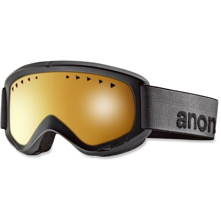 Snowboard The Anon Helix Non Mirror snow goggles deliver straightforward optical performance at a great value. Frames are made from thermoplastic polyurethane for high abrasion resistance, consistent flexibility in changing temperatures and superior elasticity that fits all face shapes. Injection-molded cylindrical lens supplies a wide view; antifog treatment combats lens fogging, delivering clear vision in changing conditions. Full perimeter channel venting optimizes airflow for clear, fog-free vision. Dual-layer face foam with moisture-wicking fleece provides a soft, comfortable seal against the elements. Amber lens color, the most versatile color available, is made for partly cloudy to flat light conditions; allows 55% visible light transmission. Anon Helix snow goggles are engineered for helmet compatibility to ensure a proper fit, eliminate gaps and maximize ventilation. - $54.95