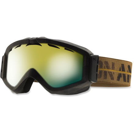Snowboard The sleek Figment Premium snow goggles boast excellent peripheral vision and versatile lens options to meet your on-snow visual needs. Frames are made from thermoplastic polyurethane for high abrasion resistance, consistent flexibility in changing temperatures and superior elasticity that fits all face shapes. Injection-molded lenses offer clear, undistorted views of scenery and terrain; Solar Shield Technology(TM) lends superior resistance to scratching. Precurved lens shape-thick in the middle and tapered toward the edges-minimizes peripheral distortion and enhances clarity. Dual-layer face foam with moisture-wicking fleece provides a soft, comfortable seal against the elements. Full perimeter channel venting optimizes airflow to prevent fogging. Antifog treatment combats lens fogging, delivering clear vision in changing conditions. Agent frame color has Green Solex(TM) lens to offer high-contrast performance and a multilayer green mirror to cut glare and increase depth perception in sunny conditions. Infantry frame color boasts Gold Chrome lens for partly cloudy days, offering solid contrast definition when dealing with varying light. Helmet-compatible design ensures a proper fit, eliminates gaps and maximizes ventilation; auto-adjust strap hinges incorporate proper swing tolerances to accommodate a helmet. As part of the Anon Premium series, the Figment Premium snow goggles feature the latest in high-resolution graphics and detailed finishes. - $56.83