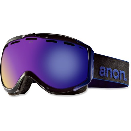 Snowboard The Anon Hawkeye Paint Asian Fit snow goggles feature a tuned fit, clear, wide field-of-view optics and a low-profile, helmet-compatible frame for all-out performance on the mountain. Frames are made from thermoplastic polyurethane for high abrasion resistance, consistent flexibility in changing temperatures and superior elasticity that fits all face shapes. Dual injection-molded, spherical lenses mimic shape of human eye to offer clear, undistorted views of scenery and terrain. Antifog treatment combats lens fogging, delivering clear vision in changing weather. 2-layer face foam with moisture-wicking fleece provides a soft, comfortable seal against the elements. Channeled, full-perimeter venting optimizes airflow to minimize fogging. Blue Solex(TM) lens features a dark bronze tint with a blue mirror to cut glare and help reduce eye fatigue on bluebird days; allows 25% visible light transmission. Helmet-compatible design features strap hinges that pivot to ensure a flush, comfortable fit that minimizes gaps and promotes ventilation. Fit of the Anon Hawkeye Paint Asian Fit goggles has been optimized to offer a good seal around the face for those with low-profile nose bridges and flat facial features. - $62.83
