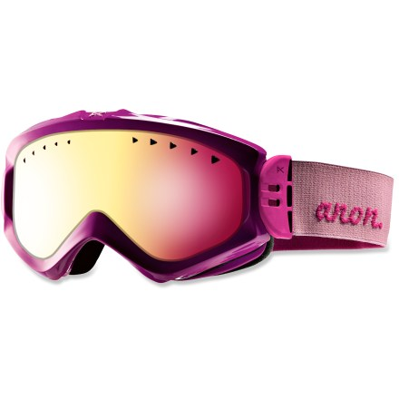 Snowboard These women's Anon Majestic Painted snow goggles boast a versatile lens tint, great antifog performance and a comfortable fit for seasons of use. Frames are made from thermoplastic polyurethane for high abrasion resistance, consistent flexibility in changing temperatures and superior elasticity that fits all face shapes. Injection-molded cylindrical lens suplies a wide field of vision; antifog treatment combats lens fogging, delivering clear vision in changing conditions. Full perimeter channel venting optimizes airflow to prevent fogging. Dual-layer face foam with moisture-wicking fleece provides a soft, comfortable seal against the elements. Rose-tinted Pink SQ lens helps reduce eye fatigue and enhance contrast and depth perception in flat light; allows 35% visible light transmission. Pivoting strap hinges automatically adjust to promote great helmet compatiblity, eliminate gaps, maximize ventilation and ensure a comfortable fit. - $44.83