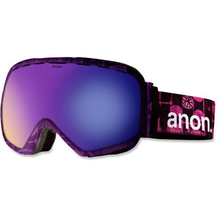 Snowboard The Anon Somerset Premium goggles provide elevated performance and aesthetics. They deliver a wide field of view, optimal vision for every winter weather condition and understated style. Frames are made from thermoplastic polyurethane for high abrasion resistance, consistent flexibility in changing temperatures and superior elasticity that fits all face shapes. Dual injection-molded, spherical lenses mimic shape of human eye to offer clear, undistorted views of scenery and terrain. Dual lens construction ensures proper climate control between the lenses and your face to keep vision clear in all conditions. Antifog treatment combats lens fogging, delivering clear vision in changing weather. Variable-density face foam with moisture-wicking fleece provides a soft contoured face fit and a comfortable seal against the elements. Channeled, full-perimeter venting optimizes airflow to minimize fogging. Blue Solex(TM) lens features a dark bronze tint with a blue mirror to cut glare and help reduce eye fatigue on bluebird days; allows 25% visible light transmission. Helmet-compatible design features strap hinges that pivot to ensure a flush, comfortable fit that minimizes gaps and promotes ventilation. As part of the Anon Premium series, the Somerset Premium snow goggles feature the latest in high-resolution graphics and detailed finishes. - $119.93