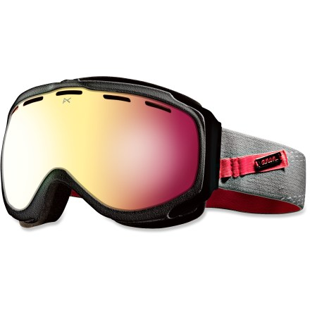 Snowboard Ready to shred, the Anon Haven Premium Asian Fit women's snow goggles offer clear, precise optics and an engineered fit to ensure your sight lines remain clear on the mountain. Frames are made from thermoplastic polyurethane for high abrasion resistance, consistent flexibility in changing temperatures and superior elasticity that fits all face shapes. Dual injection-molded, spherical lenses mimic shape of human eye to offer clear, undistorted views of scenery and terrain. Antifog treatment combats lens fogging, delivering clear vision in changing weather. 2-layer face foam with moisture-wicking fleece provides a soft, comfortable seal against the elements. Channeled, full-perimeter venting optimizes airflow to minimize fogging. Pink SQ lens has a rose tint to help reduce eye fatigue and enhance contrast and depth perception in overcast or flat light conditions; allows 35% visible light transmission. Helmet-compatible design features strap hinges that pivot to ensure a flush, comfortable fit that minimizes gaps and promotes ventilation. As part of the Anon Premium series, the Haven Premium snow goggles feature the latest in high-resolution graphics and detailed finishes. Fit of the Anon Haven Premium Asian Fit goggles has been optimized to offer a good seal around the face for those with low-profile nose bridges and flat facial features. - $77.83