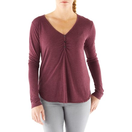 Entertainment The Chelsea Henley T-shirt offers a versatile style that goes anywhere. Lightweight jersey fabric provides soft, breathable comfortable. Henley neckline has soft gathers along the placket. Sleeves roll up and secure with button tabs. Softly rounded hem. - $11.83
