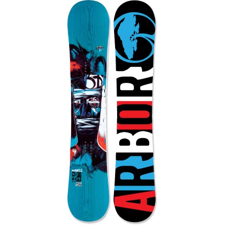 Snowboard The Arbor Westmark is a rocker snowboard for riders whose focus is park and urban jibs, rails, boxes, trees and wall rides. A buttery, forgiving flex supports your spin tricks. System rocker is the perfect platform for spinning, pressing, bonking and buttering your way through the park. Grip Tech sidecut makes 4 points of contact underfoot for improved and direct edge control; contact points create heel and toe pivot points for faster, more efficient turning. True twin shape equalizes stance to more effectively activate the contact points underfoot and enhance the rocker design. Certified by the Forest Stewardship Council for sustainable production, this core is the most versatile core made by Arbor; it offers reliable return and lasting durability. Sustainably sourced inlaid wood topsheet structurally enhances the board, adding return and durability, and reducing weight; plus, it creates a one-of-a-kind look. Butter glassing (biax over biax) is best for park and street-inspired, all-mountain and urban riding. Topsheet features a protective ultrathin finish, made from a castor-bean-based bio-plastic, that guards against damage caused by loose bindings and unforeseen impacts. ABS/urethane blend sidewall construction provides maximum durability and excellent edge control. Built with 60% recycled steel edges for maximum durability and performance. Fusion base is a made from a tough, user-friendly extruded compound that is light and easy to repair. Arbor Westmark snowboard artwork by Dave Kinsey. . - $239.83