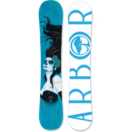 Snowboard The rockered Arbor Cadence snowboard is built for the park but makes the entire mountain your playground. Park rocker design and a mid-soft flex support spin tricks, rail sessions and all-mountain shredding. Parabolic rocker shape grips the terrain for maximum edge control; this means loaded turns, higher speeds and bigger landings. Grip Tech sidecut makes 4 points of contact underfoot for improved and direct edge control; contact points create heel and toe pivot points for faster, more efficient turning. True twin shape equalizes stance to more effectively activate the contact points underfoot and enhance the rocker design. Certified by the Forest Stewardship Council for sustainable production, the poplar all-mountain wood core delivers reliable energy and durability. Sustainably sourced inlaid wood topsheet structurally enhances the board, adding return and durability, and reducing weight; plus, it creates a one-of-a-kind look. Butter glassing (biax over biax) is best for park and street-inspired, all-mountain and urban riding. Topsheet features a protective ultrathin finish, made from a castor-bean-based bio-plastic, that guards against damage caused by loose bindings and unforeseen impacts. ABS/urethane blend sidewall construction provides maximum durability and excellent edge control. Fusion base features a tough, user-friendly extruded compound that's light and easy to repair. Built with 60% recycled steel edges for maximum durability and performance. Arbor Cadence snowboard artwork by Sylvia Ji. . - $239.83