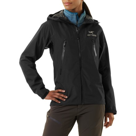 Designed for ''light and fast'' fanatics, the women's Arc'Teryx Alpha SL delivers complete weather protection without excess weight and bulkiness. Appointed with all the essential backcountry features, this compact jacket provides take-anywhere storm security. Gore-Tex(R) PacLite(R) is durably waterproof and highly breathable. The lightest, most packable fabric from Gore-Tex, PacLite uses a durable, unlined membrane to keep you dry in the wettest conditions. Micro seam allowances are sealed with narrow Gore seam tape. Underarm zippers allow ventilation and have WaterTight(TM) zippers that eliminate the need for zipper flaps. Helmet-compatible laminated hood includes a one-hand-adjustable cinch system for easy fitting. Includes a hem drawcord, a quick-dry chinguard and laminated, die-cut rip-and-stick closures on cuffs. Features two hand pockets placed so they won't interfere with pack straps. Includes laminated WaterTight front and pocket zippers. Features no-lift gusseted underarms and a hip-length cut. - $157.83