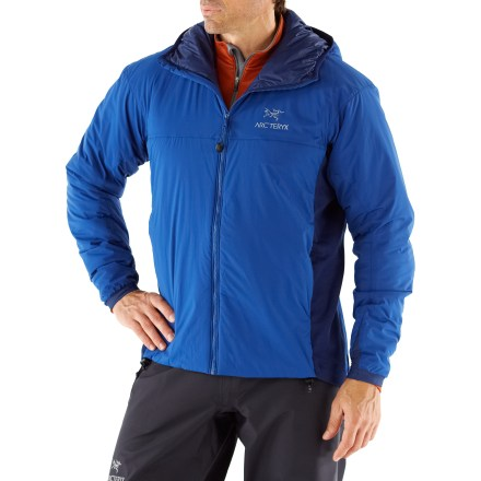Ski The Arc'teryx Atom LT is a trim hoodie that warms you up during chilly fall activites. Synthetic insulation provides vital core warmth while power stretch panels add breathability and mobility. Lightweight and compressible, the Atom LT features Coreloft(TM) synthetic insulation in the torso, arms and hood. Polartec(R) Power Stretch(R) with Hardface(R) side panels and underarms increase range of motion and breathability. Durable Water Repellent outer shell finish extends stand-alone usability. Scuba-style hood fits under a helmet. Front zipper features an insulated windflap. Gusseted underarms and articulated elbows ensure a good fit. Laminated hem drawcord and stretch-knit wrist gaskets hold in warmth. Handwarmer pockets and 1 internal pocket. Hip length with droptail hem; trim fit maximizes heat retention. - $219.00