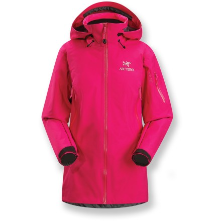 The Arc'teryx Theta AR women's jacket is a full-featured Gore-Tex(R) Pro Shell storm shelter with clean styling and multisport versatility. Theta AR is the longest length jacket from Arc'teryx and offers maximum coverage; the Drop Hood(TM) with a tall collar provides quick access to head protection. Made from supple Gore-Tex 3L Pro Shell fabric, Theta AR is completely waterproof and windproof, and offers excellent breathability. Gore Micro Grid lining is a thin, low-denier, low-density woven fabric that allows the shell to slide easily over midlayers. Reduced number and thickness of seams offers improved abrasion- and snag-resistance, enhanced breathability and decreased weight. Helmet-compatible Drop Hood(TM) combines the protection of a high collar with an easy-access, laminated brimmed hood; hood adjusts easily with 1 hand. Watertight front zipper with inner laminated windflap ensures total weatherproofing; laminated quick-dry chin guard protects skin. Features watertight laminated polyurethane exposed pit zippers. Storage options include dual handwarmer pockets and sleeve pocket with laminated zippers. Articulated elbows and no-lift, gusseted underarms ensure a comfortable fit. Dropped rear hem offers full seat coverage and includes adjustable waist and hem drawcords; die-cut, laminated rip-and-stick wrist closures. Athletic fit with slim construction is engineered for performance. - $348.93