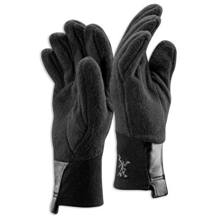 Camp and Hike The Arc'teryx Delta AR gloves can we worn alone or under waterproof shell gloves (sold separately) to keep hands warm while climbing alpine peaks and backcountry skiing. High-loft shearling fleece keeps fingers warm and breathes well and dries quickly. Anatomic shape provides a good fit and excellent dexterity. Seam-free fingertips reduce bulkiness to help you handle small items while wearing gloves. Stretch-woven polyester/spandes cuffs allow you to move your hands freely; cuffs fit snug around the wrists to keep snow and cold air out. Leather pull tabs help you get the gloves on; loops at the ends of the tabs let you clip the gloves to your climbing harness. - $35.00