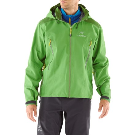"The Arc'teryx Beta AR jacket provides the backcountry minimalist durable storm protection in a lightweight and packable jacket. Hip-length Gore-Tex(R) Pro Shell jacket reduces layering overlap and bulkiness; the reinforced shoulders and elbows survive alpine abuse. Gore-Tex Pro Shell 3-layer laminate fabric is tough, extremely breathable and durably waterproof and windproof. Reduced seam quantity and thickness saves weight and offers excellent abrasion- and snag-resistance. Gore Micro Grid backer is a thin, low-denier, low-density woven fabric that allows the shell to slide easily over mid layers. Helmet-compatible Drop Hood(TM) offers fast access to storm protection; it lies below the high collar when not in use and can be cinched in to seal the collar. Hood's cord locks are concealed underneath a waterproof flap to maintain a clean finish and protect them from potential snow and ice buildup; they adjust easily with 1 hand. WaterTight(TM) front and pocket zippers reduce flap bulkiness; Molded Zipper Garages(TM) ensure a leak-free seal. Features a full-length front zipper backed by a laminated interior windflap; laminated chin guard protects sensitive skin. Pit zippers allow easy and efficient ventilation; WaterTight zippers do away with bulky zipper flaps. Features a laminated hem drawcord and micro die-cut cuffs with rip-and-stick closures. Hand pockets are vertically oriented in a traditional ""chicken-wing"" position for everyday comfort and are accessible while wearing a harness or backpack. Internal chest pocket features a durable, low-bulk laminated zipper. No-lift gusseted underarms allow jacket to stay in place when arms are raised, and ensure unhindered movement; articulated elbows ensure a non-binding fit. The Arc-teryx Beta AR jacket features a dropped rear hem exceptional coverage. Athletic, close-fitting cut aids warmth without inhibiting movement. - $331.93"