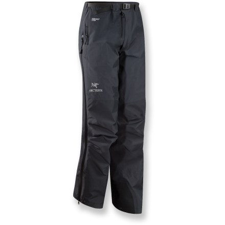The streamlined Arc'teryx Beta AR men's pants are lightweight, 4-season pants for the mountain purist. They're a reliable, durable and packable choice. With a reinforced seat, knees and instep patches, these belted-waist pants are built for rugged use. Made from supple Gore-Tex(TM) 3L Pro Shell fabric, Beta AR's are completely waterproof and windproof, and they offer excellent breathability. Gore Micro Grid lining is a thin, low-denier, low-density woven fabric that allows the shell to slide easily over midlayers. A reduced number and thickness of seams offers improved abrasion- and snag-resistance, enhanced breathability and decreased weight. Features a watertight, welded front fly and an adjustable nylon webbing belt. Exposed, watertight side zippers stop short of harness/hipbelt area and provide easy access and adjustable venting. Articulated and reinforced seat and knees, plus a gusseted crotch, make the Beta AR pants not just comfortable, but durable as well. Laminated powder cuffs offer good coverage and incorporate gripping elastic and boot-lace hooks. Reinforced Keprotech(TM) instep patches guard against abrasion. Pants feature a hip stash pocket. Tapered fit with slim construction is engineered for performance. - $174.83