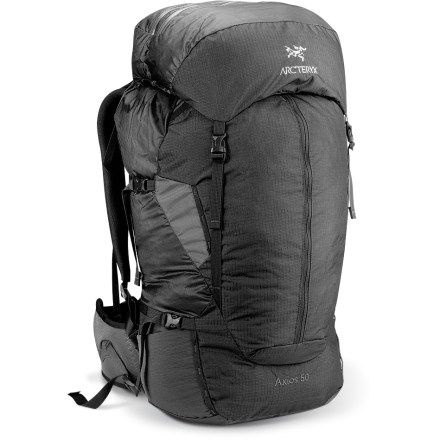 Camp and Hike The lightweight Arc'teryx Axios 50 pack excels on fast-paced weekend or multiday trips. It's designed with a highly breathable suspension for maximum evaporative cooling. Anatomically-shaped shoulder straps and hipbelt feature perforated EV(R) 50 foam and Spacermesh(TM) for breathable comfort even in warm climates. Aeroform(TM) back panel is made of an air-permeable mesh, molded to create miniature peaks and valleys that provide airflow and cushioning. HDPE framesheet and dual 6061 aluminum stay system with horizontal cross member provide load stability. Top-loading design features a removable, expandable top lid with 2 zippered compartments, a map pocket and a key clip. Side zipper allows easy access to the contents of the main compartment. Hydration-compatible design features reservoir sleeve with a HydroPort(TM) and hose clip for drinking tube (reservoir sold separately). Kangaroo pocket on front of pack is perfect for stashing rain gear or other items that you may need to access quickly. 4 external compression straps let you cinch down your load for jostle-free carrying. 2 stretch-mesh stash pockets on hipbelt hold snacks or other small essentials. 2 stretch-mesh side pockets with elastic drawcords secure water bottles. Micro daisy chains allow gear to be lashed to the exterior of the pack body. Silicone- and polyurethane-coated pack body is made of 100-denier Invista HD Mini Ripstop(TM) nylon and 210-denier Ripstorm(TM) nylon. Pack base is made of burly, 420-denier Invista HD plain weave nylon. Arc'teryx Axios 50 pack features Hypalon(TM) trim and reinforced high-wear areas to bolster durability. - $167.93