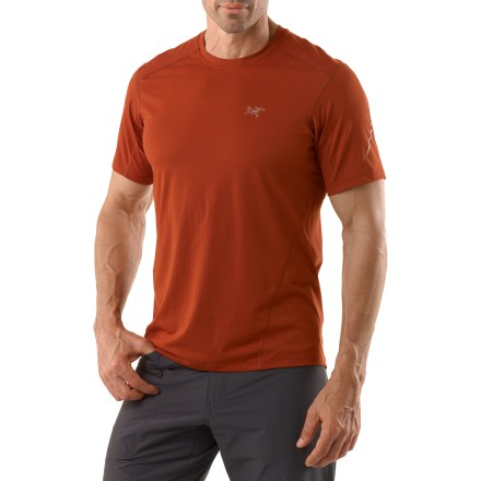 Fitness The Arc'teryx Motus Crew is a wicking top that won't let you down, whether you are trekking around that next peak or just around your neighborhood. Phase(TM) SL fabric absorbs very little moisture and wicks perspiration away from your skin, allowing for quick drying and comfortable aerobic performance. Shirt is tailored for active users, offering a hip-length cut that works well with shorts or tights. Gusseted underarms allow for easy shoulder movement and rotation. Fabric contains silver ions within the fibers to help resist odors. The Arc'teryx Motus Crew shirt has a reflective logo and blaze stripes for enhanced low-light visibility. - $44.93