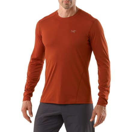 Fitness The Arc'teryx Motus Long-Sleeve Crew shirt is a wicking top that won't let you down, whether you are trekking around that next peak or just around your neighborhood. Phase(TM) SL fabric wicks perspiration away from your skin and resists absorbing moisture, allowing for quick drying and comfortable aerobic performance. Shirt is tailored for active users, offering a hip-length cut that works well with shorts or tights. Gusseted underarms allow for easy shoulder movement and rotation. Fabric contains silver ions within the fibers to help resist odors. The Arc'teryx Motus Long-Sleeve Crew shirt has a reflective logo and stripes for enhanced low-light visibility. - $51.93