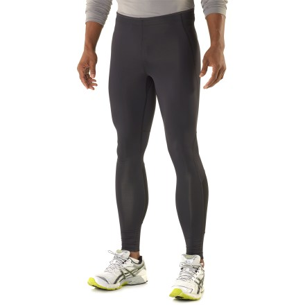 Fitness Arc'teryx Incendo tights offer ideal comfort during trail runs in cool weather. Polyester and spandex fabric blend wicks moisture, dries quickly and offers excellent freedom of movement. Mesh panels around calves enhance comfort and support. Elasticized waist with drawcord personalizes fit. Flatlock seams reduce chafing. Comfortable gusseted crotch offers unhindered movement. Zippered back pocket stashes small items. Reflective logo enhances visibility in low light. Arc'teryx Incendo tights offer a next-to-skin fit. - $54.93