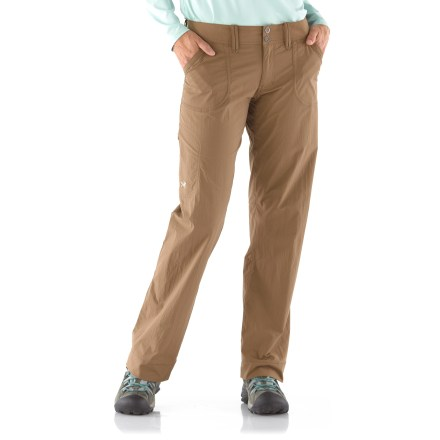 Camp and Hike The Parapet pants from Arc'teryx are lightweight, breathable and durable. These urban-inspired technical pants are suitable for climbing, trekking, hiking and traveling. Quick-drying, durable fabric breathes well; spandex adds nice stretch for comfortable mobility, no matter what moves you throw down. Zipper fly with 2 snap closures. Wide hem and gusseted crotch. 2 hand pockets, 2 back pockets and 1 zip thigh pocket. Arc'teryx Parapet pants have a relaxed, easygoing fit. - $99.00