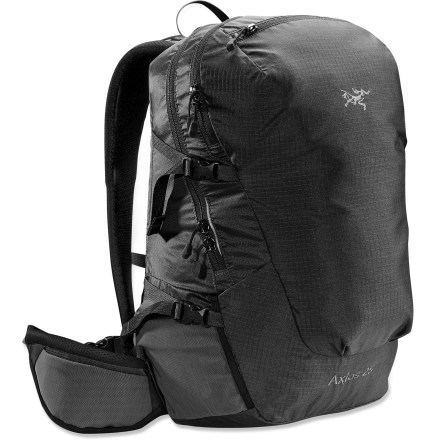 Camp and Hike The Arc'teryx Axios 25 pack excels at lightweight trips on warm days. It's designed with a highly breathable suspension for maximum evaporative cooling. Anatomically shaped shoulder straps and hipbelt feature perforated foam and mesh for breathable comfort even in warm climates. Back panel is made of an air-permeable mesh, molded to create miniature peaks and valleys that provide airflow and cushioning. HDPE framesheet and dual aluminum stays with horizontal cross member provide load stability. Panel-loading design allows easy access to the contents of the main compartment. Hydration-compatible design features reservoir sleeve with a port and clip for drinking tube (reservoir sold separately). Zippered kangaroo pocket on front of pack is perfect for stashing rain gear or other items that you may need to access quickly. 4 external compression straps let you cinch down your load for jostle-free carrying. 2 stretch-mesh stash pockets on the hipbelt hold snacks or other small essentials. 2 stretch-mesh side pockets with elastic drawcords secure water bottles. Micro daisy chains allow gear to be lashed to the exterior of the pack body. Arc'teryx Axios 25 pack features a silicone- and polyurethane-coated pack body made of 100-denier Invista HD Mini Ripstop(TM) nylon and 210-denier Ripstorm(TM) nylon. - $139.00