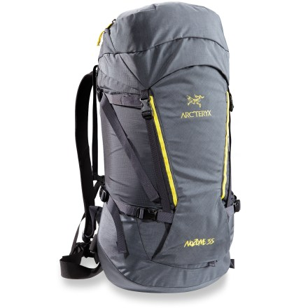 Camp and Hike The light and compact Arc'teryx Nozone 35 pack is built tough for rugged alpine pursuits. Its features can be stripped down to make it even lighter depending on your specific activities. Arc' on (TM) suspension utilizes aspects of the award-winning AC2 and Bora suspensions to ride comfortably over all kinds of mountain terrain with minimum sway or load slop. Dual-density, anatomically shaped shoulder straps with sternum strap and removable webbing hipbelt provide comfortable control and support. Laminated back panel and framesheet are fused to the external bag; breathable, padded lumbar and shoulder areas help regulate moisture. Twin 15mm extruded 6061 aluminum stays provide solid load support and weight transfer to the hipbelt. Top-loading main compartment is crowned with an extendable collar and drawcord for additional capacity and a removable, extendable top lid with 2 zippered compartments. Front kangaroo pocket with top compression strap offers easy access to often-used gear. Pack exterior features dual haul loops, top grab handle, 2 compression straps on each side, stretch-mesh wand pocket and 1-hand-operable ice axe attachment. The Arc'teryx Nozone 35 pack is made with 100-denier Cordura Mini Ripstop(R) and 210-denier Ripstorm(R) with silicone and polyurethane coatings. High-wear areas are reinforced with 420-denier Cordura HT plain weave. - $239.00