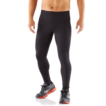 Fitness Arc'teryx Stride tights offer motivating comfort and excellent support during runs in cool weather. Very soft fabric blend wicks moisture, adds a touch of warmth and helps protect skin from harsh light with a UPF 50+ rating. You'll run farther without chafing thanks to the flatlock seams. Wide elasticized waist with drawcord personalizes fit. Gusseted cuffs zip open to ease dressing over shoes; zippers lock to prevent annoying bouncing during the run. Zippered back pocket stashes small items. Reflective logo enhances visibility in dim light. Arc'teryx Stride tights offer a next-to-skin fit. - $99.00