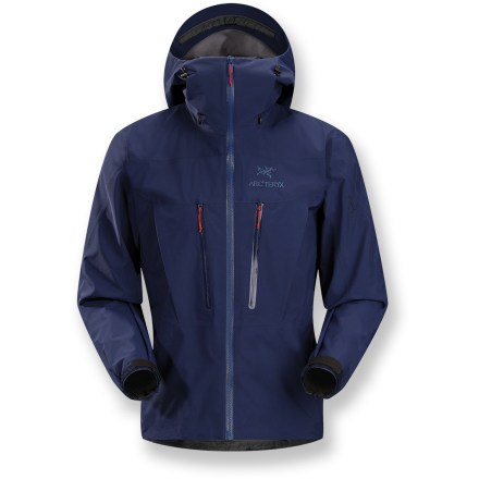 Entertainment The Arc'teryx Alpha SV jacket is a fortress for extreme mountain conditions, ideal for climbing and alpinism. It's been redesigned with a refined fit, using a softer Gore-Tex(R) Pro fabric. Recreated with N80p-X Gore-tex Pro fabric, the classic Alpha SV is extremely waterproof and abrasion resistant, and the most durable shell in the Arc'teryx lineup. Gore Micro Grid backer is a thin, low-denier, low-density woven fabric that allows the shell to slide easily over mid layers. Micro seam allowances feature tiny Gore seam tape. Engineered 3D patterning creates an ergonomic fit for extra ease of movement, and the expedition fit leaves room for maximum winter layering. Helmet-compatible Storm Hood(TM) with a laminated brim offers fast access to storm protection; glove-friendly hood adjusters. WaterTight(TM) Vislon front zipper is incredibly durable and longlasting; laminated chin guard protects delicate skin. Pit zippers allow easy and efficient ventilation; WaterTight zippers do away with bulky zipper flaps. Features a laminated hem drawcord and micro die-cut rip-and-stick cuff adjusters with elastic hem configuration; dropped back hem increases protection. Hood drawcords and pit zippers all adjust with one hand; corded zipper pulls reduce noise and are easy to grab. Traditional bellowed crossover pockets remain accessible while wearing a pack; also includes a sleeve pocket with WaterTight zipper and 2 internal laminated pockets. Anatomical shaping, articulated patterning and articulated elbows perfect the fit. No-lift gusseted underarms allow jacket to stay in place when arms are raised, and ensure unhindered movement. Arc'teryx Alpha SV jacket is fully reinforced for maximum durability; includes a laminated high-strength hanger loop, non-chafing label and an embroidered logo. - $436.93