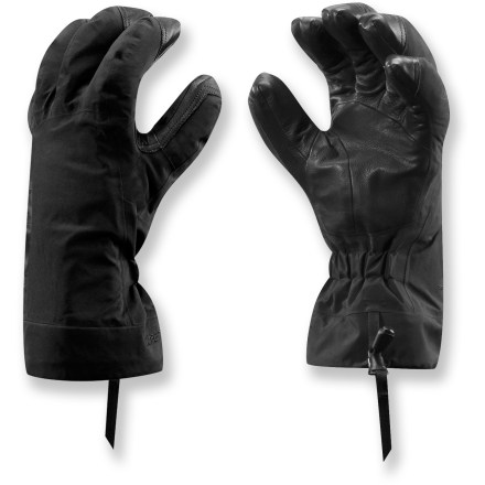 Ski Alpine adventures require gloves that keep your hands warm and give you a solid grasp of ice axes, ropes and ski poles. The Arc'teryx Beta AR gloves do just that and won't disappoint. Rugged nylon shells with Gore-Tex(R) Pro Shell 3L waterproof breathable laminate technology shed snow and keep moisture out so you can enjoy winter with dry hands. Removable liners feature low-profile Polartec(R) Thermal Pro(R) tweed fleece at the palms and under the fingers; high-loft Polartec Wind Pro(R) insulates the backs. 2 fabrics in the liner gloves leaves the fingertips very nimble for great dexterity. Removable liners give you the option to wear only the shells or liners and also speed up drying should the gloves get wet. Fixed wrist elastic eliminates the need for straps and buckles that add weight and bulk. Leather palm overlays wrap only over the tips of the fingers rather than all the way down the backs of the fingers to keep weight to a minimum and maintain fast drying times. Short gauntlets fit under or over jacket sleeves. Arc'teryx Beta AR gloves come with loops on the fingers that clip to a climbing harness in the upright position. - $110.83