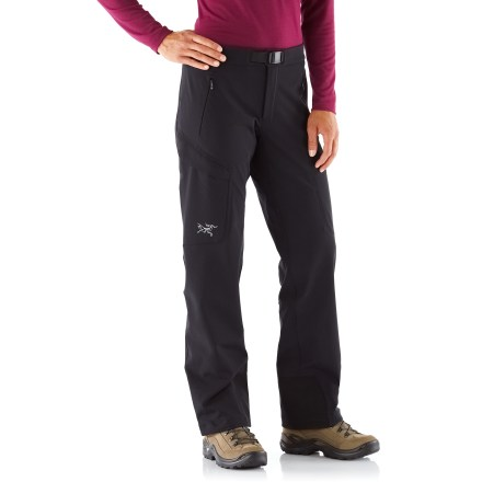 Camp and Hike The women's Arc'teryx Gamma MX pants are made from a breathable, lightly insulated soft-shell fabric. They're ideal for alpine and expedition climbing. Stretchy, breathable and weather-shedding fabric tackles everything from mixed routes to epic tours; it resists light winds and remains highly breathable. Soft microfleece backing adds light warmth, wicks moisture and feels really nice against skin. Durable Water Repellent finish causes water to bead up and roll off, fending off light rain showers and snow. Gusseted crotch facilitates freedom of movement for increased comfort. Front zipper fly with snap closure; waistband is lined with soft, brushed fabric. Adjustable, integrated webbing belt. Arc'teryx Gamma MX pants have adjustable cuff drawcords and reinforced instep patches. Includes 2 hand and 2 thigh pockets with rip-and-stick closures. Athletic, close-fitting cut aids warmth without inhibiting movement. - $208.93