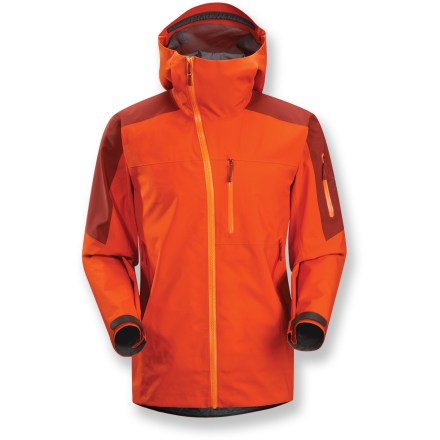 Ski Rugged and lean, the Sidewinder SV jacket is the toughest, most durable snowsports-specific jacket Arc'teryx offers. It delivers maximum weatherproof protection for logging vertical footage. Rugged Gore-Tex(R) 3L Pro Shell fabric is tough, extremely breathable and durably waterproof and windproof. Reduced quantity and thickness of seams saves weight, provides excellent abrasion- and snag-resistance and enhances breathability. Helmet-compatible Storm Hood(TM) and generous collar protect you in inclement weather without sacrificing your peripheral vision. Offset, lightweight WaterTight(TM) Vislon front zipper prevents windchill and snow entry; quick-drying chin guard protects soft skin from zipper abrasion. Stretch panel powder skirt with snap closure keeps out cold air and snow; slide-and-lock snaps attach jacket to compatible pants (sold separately). Articulated elbows, roomy underarm gussets and forward-leaning articulation ensure easy movement. Handwarmer pockets, chest pocket and sleeve pocket all have waterproof zippers. Arc'teryx Sidewinder SV jacket also features an internal mesh pocket. Pit zippers allow easy and efficient ventilation; WaterTight(TM) zippers do away with bulky zipper flaps. Embedded RECCO(R) reflector enhances radio signals from search-and-rescue RECCO detectors to speed location acquisition in an avalanche. - $519.93