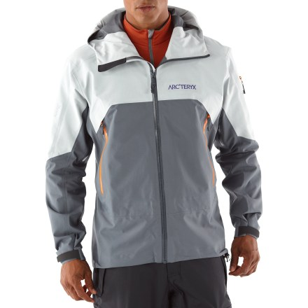 Ski This gems is similar to the Sidewinder SV jacket, but the Arc'teryx Rush features 2 different weights of Gore-Tex(R) fabric to give it an edge in unforgiving conditions. High abrasion areas of shoulders, elbows and hood use rugged 150-denier nylon Gore-Tex(R) 3L Pro fabric that is breathable and durably waterproof and windproof. Core and sleeves use supple, lightweight 70-denier nylon Gore-Tex(R) 3L Pro fabric that is also breathable and durably waterproof and windproof. Reduced quantity and thickness of seams saves weight, provides excellent abrasion- and snag-resistance and enhances breathability. Helmet-compatible Storm Hood(TM) and generous collar protect you in inclement weather without sacrificing your peripheral vision. Offset, lightweight WaterTight(TM) Vislon front zipper prevents windchill and snow entry; quick-drying chin guard protects soft skin from zipper abrasion. Adjustable powder skirt with snap closure keeps out cold air and snow; slide-and-lock snaps attach jacket to compatible pants (sold separately). Articulated elbows, roomy underarm gussets and forward-leaning articulation ensure easy movement. Handwarmer pockets, chest pocket and sleeve pocket all have waterproof zippers. Arc'teryx Rush jacket also features an internal mesh pocket. Pit zippers allow easy and efficient ventilation; WaterTight(TM) zippers do away with bulky zipper flaps. Embedded RECCO(R) reflector enhances radio signals from search-and-rescue RECCO detectors to speed location acquisition in an avalanche. - $384.93