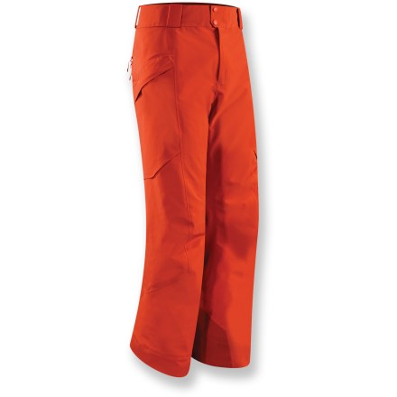 Ski The Arc'teryx Micon Insulated snow pants have a plush interior and waterproof fabric to keep you riding longer on those cold, winter days. Gore-Tex(R) Pro Shell 3-layer fabric is tough, extremely breathable and durably waterproof and windproof. Seat and thighs feature lightweight, compressible and non-woven Coreloft(TM) 60g synthetic insulation; it retains warmth even when wet and has an excellent loft recovery. Sides, crotch and back of knees have a slim lining of CoreLine(TM) high-gauge synthetic knit that traps warmth and is ultra-smooth for easy layering. Thigh vents, with mesh backing, prevent snow entry and enhance airflow when needed; zippers are waterproof. Instep patches along hems are made of hardy Keprotec(R) for extreme abrasion resistance. Store small essentials out of your way with the twin cargo pockets on thighs and a wallet stash pocket. Flat waistband with zipper fly; includes large loops for your own belt. Embedded RECCO(R) reflector enhances radio signals from search-and-rescue RECCO detectors for quicker acquisition of position in an avalanche. - $398.93