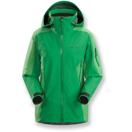Ski Steadfast in all winter adventures, the Arc'teryx Stingray snow jacket features Gore-Tex(R) soft-shell fabric that provide a supple, warm solution to snow and moisture. Gore-Tex Soft Shell 3L low-loft is a rugged nylon woven face fabric bonded to a soft low-loft polyester liner; offers waterproof, breathable protection from the elements. Reduced quantity and thickness of seams saves weight, provides excellent abrasion- and snag-resistance and enhances breathability. Low-loft liner enhances warmth without sacrificing breathability. Hood and generous collar protect you in inclement weather without sacrificing your peripheral vision. Waterproof front zipper prevents windchill and snow entry; quick-drying chin guard protects soft skin from zipper abrasion. Adjustable powder skirt with snap closure keeps out cold air and snow. Pit zippers with WaterTight(TM) zippers allow easy and efficient ventilation. Handwarmer pockets, chest pocket and sleeve pocket all have waterproof zippers; internal pocket for easy access storage. Embedded RECCO(R) reflector enhances radio signals from search-and-rescue RECCO detectors to speed location acquisition in an avalanche. - $369.83
