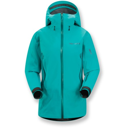 Ski The women's Arc'teryx Tempest snow jacket features Gore-Tex(R) soft-shell construction, a fleecy interior and a relaxed fit for off-piste explorations. Gore-Tex(R) Pro 3-layer laminate fabric is tough, extremely breathable and durably waterproof and windproof. Interior features a plush fleece backer in shoulders, upper sleeves and back combined with a lighter weight flannel in the sides for cold days and enhanced breathability. Helmet-compatible Storm Hood(TM) and generous collar protect you in inclement weather without sacrificing your peripheral vision. Waterproof front zipper prevents windchill and snow entry; quick-drying chin guard protects soft skin from zipper abrasion. Adjustable powder skirt with snap closure keeps out cold air and snow. Pit zippers with WaterTight(TM) zippers allow easy and efficient ventilation. Large handwarmer pockets and sleeve pocket all have waterproof zippers; internal mesh pocket for easy access storage. Embedded RECCO(R) reflector enhances radio signals from search-and-rescue RECCO detectors to speed location acquisition in an avalanche. - $419.93