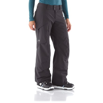 Ski The women's Arc'teryx Sarissa Insulated snow pants have a plush interior and waterproof fabric to keep you riding longer on those cold, winter days. Gore-Tex(R) Pro Shell 3-layer fabric is tough, extremely breathable and durably waterproof and windproof. Seat and thighs feature lightweight, compressible and non-woven Coreloft(TM) 60g synthetic insulation; it retains warmth even when wet and has excellent loft recovery. Sides, crotch and back of knees have a slim lining of CoreLine(TM) high-gauge synthetic knit that traps warmth and is ultra-smooth for easy layering. Thigh vents, with mesh backing, prevent snow entry and enhance airflow when needed; zippers are waterproof. Instep patches along hems are made of hardy Keprotec(R) for extreme abrasion resistance. Store small essentials out of your way with the twin cargo pockets on thighs and a wallet stash pocket. Embedded RECCO(R) reflector enhances radio signals from search-and-rescue RECCO detectors for quicker acquisition of position in an avalanche. Flat waistband with zipper fly; includes large loops for your own belt. - $348.93