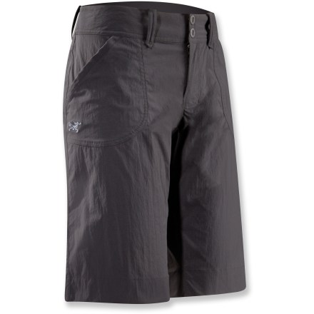 Camp and Hike The urban-inspired Parapet long shorts from Arc'teryx are lightweight, breathable and durable, making them perfect for climbing, trekking, hiking and traveling. Quick-drying, durable fabric breathes well; spandex adds nice stretch for comfortable mobility, no matter what moves you throw down. Zipper fly with 2-snap closure. Wide hem and gusseted crotch. 2 hand pockets and 2 back pockets. Arc'teryx Parapet shorts have a relaxed, easygoing fit. Closeout. - $34.83