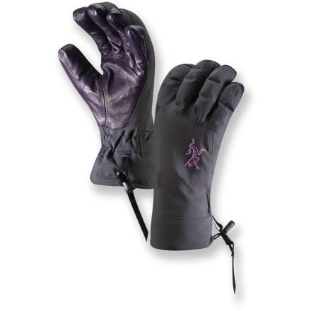 Ski Alpine adventures require gloves that keep your hands warm and allow a solid grasp of ice axes, ropes and ski poles. Count on the Arc'teryx Beta AR women's gloves and you won't be disappointed. Rugged nylon shells with Gore-Tex(R) Pro Shell 3L waterproof breathable laminate technology shed snow and keep moisture out so you can enjoy winter with dry hands. Removable liners feature low-profile Polartec(R) Thermal Pro(R) tweed fleece at the palms and under the fingers; high-loft Polartec Wind Pro(R) insulates the backs. 2 fabrics in the liner gloves leaves the fingertips very nimble for great dexterity. Removable liners give you the option to wear only the shells or liners and also speed up drying should the gloves get wet. Fixed wrist elastic eliminates the need for straps and buckles that add weight and bulk. Leather palm overlays wrap only over the tips of the fingers rather than all the way down the backs of the fingers to keep weight to a minimum and maintain fast drying times. Short gauntlets fit under or over jacket sleeves. Arc'teryx Beta AR gloves come with loops on the fingers that clip to a climbing harness in the upright position. - $110.83