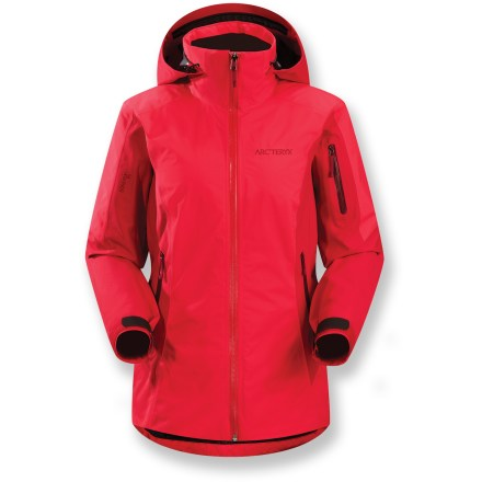 Ski Slight in profile but huge in warmth, the women's Arc'teryx Meta insulated jacket delivers warmth with minimal weight. This jacket is built to withstand daily mountain abuse and abrasion. Gore-Tex(R) Pro Shell 3-layer laminate fabric is tough, extremely breathable and durably waterproof and windproof. Features lightweight, compressible and non-woven Coreloft(TM) 80g synthetic insulation; it retains warmth even when wet and has excellent loft recovery. Helmet-compatible Drop Hood(TM) offers fast access to storm protection; it lies below the high collar when not in use and can be cinched in to seal the collar. Powder skirt with stretch panels and snap closure keeps out cold air and snow. Pit zippers allow easy and efficient ventilation; mesh guards keep out snow, vent heat. Handwarmer pockets and sleeve pocket feature waterproof zippers; internal mesh pocket and internal zip media pocket stash small essentials. Embedded RECCO(R) reflector enhances radio signals from search-and-rescue RECCO detectors to speed location acquisition in an avalanche. - $558.93