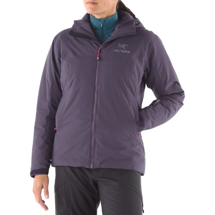 The Arc'teryx Kappa Hoodie jacket is ideal for active pursuits on freezing days. This insulated, windproof hoodie delivers serious warmth and superb breathability. WINDSTOPPER(R) fabric offers warmth and total windproof protection; you won't overheat or suffer from perspiration buildup because moisture vapor escapes easily. Lightweight, radiant Coreloft(TM) insulation traps heat inside and allows jacket to breathe; it continues to insulate even when damp. Non-quilted, laminated construction eliminates cold spots. Micro seams reduce bulk and weight. Durable Water Repellent finish causes water to bead up and roll off, fending off light rain showers and snow; seams are taped to block moisture seeping through. Insulated, helmet-compatible storm hood with laminated brim and drawcord adjustments; integrated fitted collar panel adds warmth and comfort. Full front zipper with internal windflap; chin guard has brushed microfleece facing. Laminated rip-and-stick cuff adjusters reduce bulk and won't catch or tear off. Dropped back hem with floating drawcord provides snug closure. 2 internal mesh pockets and 2 hand pockets with zippers. Kappa Hoodie has standard Arc'teryx fit; anatomical shaping and gussets minimize the bulkiness that can restrict motion. Easy layering over or under jacket extends seasonal versatility and comfort. - $198.83