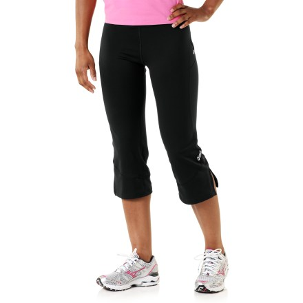 Fitness The Abby(TM) capris from ASICS offer a light compression fit that works as hard as you do. Nylon and spandex fabric wicks moisture and dries quickly, and it provides lightweight compression during active sports. Flat front waistband offers a sleek fit, and mesh insets promote breathability. Reflective highlights increase safety in low light. Flatlock seams reduce chafing. Hidden zippered pocket stashes extras. The fitted ASICS Abby capri pants stays close to the body. - $26.83