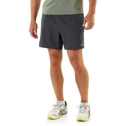 Fitness The ASICS 2-N-1(TM) shorts boost the comfort of your workout with their silky smooth fabric and lightweight feel. Polyester and spandex stretch microfiber fabric provides quick-drying breathability, air circulation and moisture management. Seamless crepe liner feels comfortable next to skin, wicks moisture and dries quickly. On-seam hand pockets store small accessories. Reflective highlights improve nighttime profile. The semifitted ASICS 2-N-1 shorts are not too tight and not too loose. - $22.83