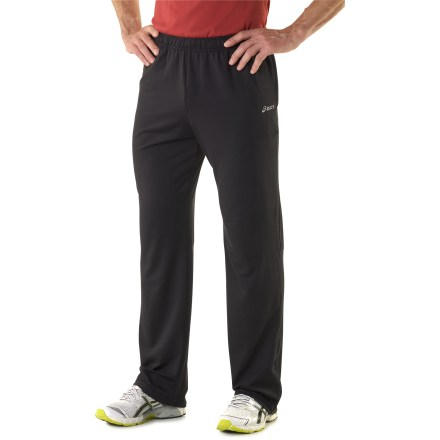 Fitness The ASICS Thermopolis LT Run pants offer a soft-as-cashmere feel that's meant for cold-weather runs. Brushed fabric provides temperature-regulating breathability, moisture wicking and lightweight insulation during active sports. Elastic waist personalizes the fit. 2 pockets offer shelter for your hands, and a security pocket stashes a key. Locking ankle zippers offer easy dressing over shoes. Reflective highlights boost your visibility from any angle. The semifitted ASICS Thermopolis LT Run pants are not too loose and not too tight. - $48.93