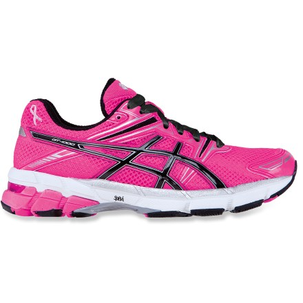 Fitness The special edition pink ASICS GT-1000 PR women's road-running shoes show your support in the fight against breast cancer and offer a great fit and cushioned, stable performance. In designing these shoes, ASICS teamed up with Christina Applegate's Right Action For Women fund to provide assistance to women who are at increased risk for breast cancer. Pink uppers are made of lightweight, flexible polyester mesh and synthetic textile to offer breathability and comfort; a small pink ribbon shows your support. Wicking polyester linings move excess moisture away from feet and dry fast. Dual-density Solyte(R) lasting uses proprietary polymer material that's lighter than standard EVA and offers enhanced cushioning longevity. Forefoot and hindfoot GEL(R) silicone-based cushioning inserts absorb excess shock in all directions for great stability. Dual-density midsole posting improves stability and support. In addition, midfoot stability system creates a pocket between midsole supports, enhancing shock absorption and controlling midsole deformation for efficiency. High-performance blown rubber outsoles have abrasion-resistant material in the heels and forefoot material that cushions and increases traction and feel. Vertical flex groove in outsoles follows the line of progression throughout the gait cycle to enhance gait efficiency. ASICS GT-1000 PR women's road-running shoes proudly carry the Seal of Acceptance from the American Podiatric Medical Association. - $74.93