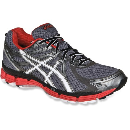 Fitness With Gore-Tex(R) waterproof liners, the men's ASICS GT-2000 G-TX road-running shoes are a great choice for daily runs and training all year long. Uppers are made of lightweight, flexible polyester mesh and synthetic textile to offer breathability and comfort. GORE-TEX(R) waterproof liners let feet breathe while protecting them from the elements, keeping them dry and comfortable. Wicking polyester linings move excess moisture away from feet and dry fast. Dual-density Solyte(R) lasting uses proprietary polymer material that's lighter than standard EVA and offers enhanced cushioning longevity. Forefoot and hindfoot GEL(R) silicone-based cushioning inserts absorb excess shock in all directions for great stability. Nylon plates offer torsional rigidity and lightweight support. High-performance blown rubber outsoles have abrasion-resistant material in the heels and forefoot material that cushions and increases traction and feel. Vertical flex groove in outsoles follows the line of progression throughout the gait cycle to enhance gait efficiency. ASICS GT-2000 G-TX men's road-running shoes proudly carry the Seal of Acceptance from the American Podiatric Medical Association. Ideal for neutral runners and overpronators. - $88.93