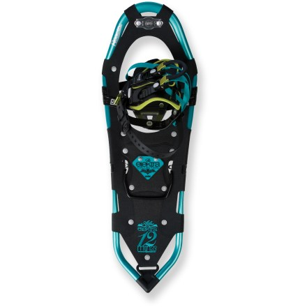 Camp and Hike The sturdy Atlas 1223 Elektra women's snowshoes supply plenty of flotation and traction for off-trail adventures into the backcountry. Elektra snowshoes are designed to match a woman's unique stride biomechanics and foot shape. Spring-Loaded(TM) Suspension absorbs impact and allows natural side-to-side foot flex and crampon grip for enhanced traction. Wrapp(TM) Pro bindings are lightweight and padded for comfortable warmth; they're as easy to get off as they are to put on. Floating tongue and indexed fit system offer the perfect fit; FlowTape(TM) silicone straps cinch the bindings effortlessly. Quick-release buckle pulls make getting out a snap. ReactiV(TM) 7075 aluminum, variable-geometry frames create a stiff, lightweight chassis for superb suspension response. Stainless-steel Holey-1 toe crampons with shovellike front prongs and sharp end points bite into the iciest slopes. Stainless-steel heel cleats and side traction rails increase traction while traversing and descending. Abrasion-resistant, lightweight Duratek(TM) decks withstand harsh, cold conditions. Heel lift bars relieve calf muscle fatigue while ascending steep slopes; bar stores flat when disengaged. Recommended load specification includes weight of hiker with gear. - $214.93
