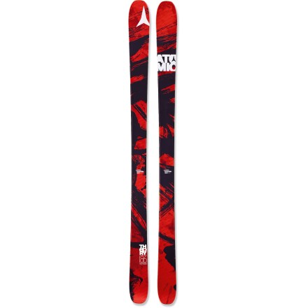 Ski The Atomic Theory skis take you from soft, fresh morning snow to the icy turns at the end of the day with remarkable stability. Built for days that take you all over the mountain, the Atomic Theory skis excel on variable terrain, and they'll hold their own on powder days. 95mm waist and lightweight design floats and turns with ease in deep snow. Wood core provides smooth handling at high speeds and in deep powder snow. When skis are weighted, there is a slight rise in the tips that makes it easy to initiate turns. However, when skis are put on edge after starting a turn, the camber flattens out to deliver full contact with snow and excellent edge hold. Sidewall construction ensures maximum torsional rigidity, uncanny edge grip and controlled tip-to-tail flex; sidewall is reinforced in binding area with 3 layers of material. Half cap construction in tip and tail reduces swing weight and chipping when your skis bang together. Graphite base tunes beautifully and accepts wax readily. Atomic Theory skis require bindings with wide brakes. Base or topsheet color may vary from online photo. - $249.83
