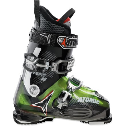 Ski Conforming to the shape of your foot, the men's Atomic Live Fit 80 ski boots increase your comfort whether walking to the lodge or cruising down fast runs. Bi-component shell features specialized flex zones that adapt instantly to the shape of your foot. Located between the first buckle and the toe, these zones feature soft plastic that improves balance, circulation, warmth and sensitivity-they make happy feet! Liners feature differing materials on the left and right; firm material helps you feel the terrain on inside of turn and soft material cushions recovery. Custom-moldable liners feature very warm, soft interiors to enhance comfort. Toe boxes reduce hot spots and increase comfort with 4-way stretch. Foot-wrapping, 2 buckle design makes it simple to get your feet into boots, and a 35mm powerstraps act as a third buckle. Cushioning footbeds offer furnacelike warmth and cloudlike softness. Grip plates use dual-density material to increase traction on slippery terrain. Flex index of 80 offers the comfortable performance preferred by intermediate skiers. The Atomic Live Fit 80 ski boots feature 102 - 106mm wide footbeds. - $179.83