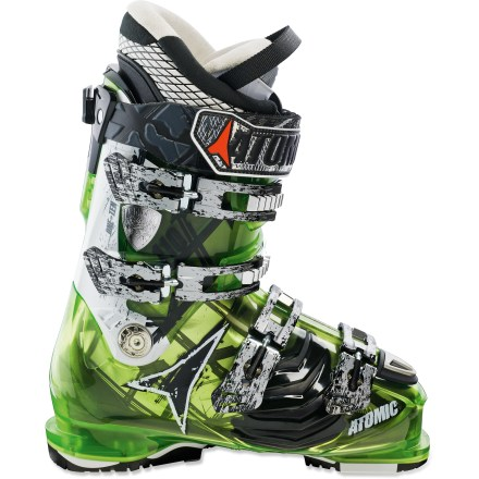 Ski Comfortable and precise, the Atomic Hawx 110 ski boots help you focus on slashing speedy tracks down the mountain. Bi-component shell features specialized flex zones that complement the natural motion of your foot. Located between the first and second buckle on the outside of the shell, these zones feature soft plastic which boosts control, eases turns and enhances balance. Liners feature differing materials on the left and right; firm material helps you feel the terrain on inside of turn and soft material cushions recovery. Custom-moldable, anatomic liners conform to ankles, forefeet and shins and snugly hold heels. Toe boxes reduce hot spots and increase comfort with 4-way stretch. 45mm powerstraps act as a fifth buckle. Grip plates use dual-density material to increase traction on slippery terrain. Flex index of 110 offers a responsive flex that's suitable to progressing intermediate skiers. The Atomic Hawx 110 ski boots feature 100mm footbeds to provide a good mix of comfort and performance. - $299.83
