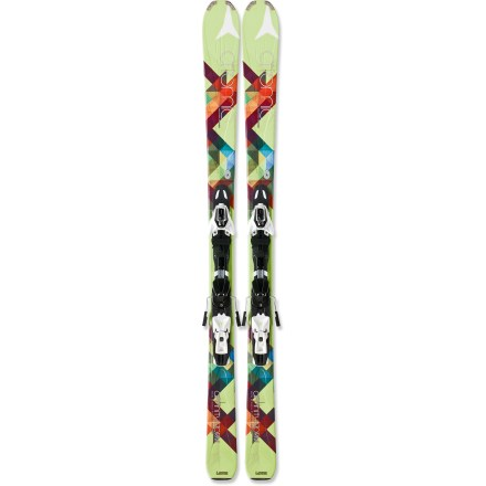 Ski Perfect for all-mountain exploration, the women's Atomic SYS Affinity Storm skis with bindings blast though pow, crud or corduroy anywhere on the resort. The Atomic SYS Affinity Storm skis with bindings really excel when you're sticking just to the groomers, and if you find yourself going off-piste, they won't disappoint. 84mm waist holds an edge of groomers and offers excellent versatility in deep snow. Half-cap construction in tips and tails improves durability. Tip-to-tail wood core reduces swing weight and enhances overall handling. Women-specific flex zones in tip and tails make it easy to start turns, and offer a smooth power transfer out of turns. V-shaped ski profile floats well in soft snow, initiates turns easily and offers easy control when releasing tails out of turn. When skis are weighted, there is a slight rise in the tips that makes it easy to initiate turns. However, when skis are put on edge after starting a turn, the camber flattens out to deliver full-length contact with snow and excellent edge hold. Sidewall construction ensures maximum torsional rigidity, uncanny edge grip and controlled tip-to-tail flex; sidewall is reinforced in binding area with 2 layers of material. Atomic SYS Affinity Storm skis with bindings feature a graphite base that tunes easily and glides well over all snow conditions. XTO 10 Lady integrated bindings allow the skis to flex naturally for excellent edge contact and bump absorption. Women-specific heel lift enhances balance and eases turning. Full-flex, twin pivot binding creates consistent power application using a rail plate: the toe and heel adjust on the rail, and the center of the binding is fixed to the ski. Long, automatically adjusting toe wings increase contact zone with boot for precise boot hold and enhanced energy transmission to edges. Automatic toe height adjustment ensures a proper fit without using tools. - $565.93