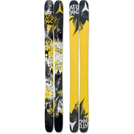 Ski Carve up the backcountry on the Atomic Blog skis. They bust through crud like a sledgehammer and float on powder like a feather. Atomic Blog skis were made for the deepest of the deep, the fluffiest of the fluff, and the softest of the soft, but they also transition well onto groomed runs. 110mm waist offers a good mix between maneuverability and flotation. Wood core provides smooth handling at high speeds and in deep powder snow. Early rise in the tip and tail enhances powder skiing forward or switch; traditional camber underfoot enhances edge grip on firm snow. Sidewall construction ensures maximum torsional rigidity, uncanny edge grip and controlled tip-to-tail flex; sidewall is reinforced in binding area with 3 layers. Half cap construction in tip and tail reduces swing weight and chipping when your skis bang together. Directional twin-tip design offers increased performance in varied snow conditions and during backcountry freestyle maneuvers. Atomic Blog skis feature a graphite base that tunes beautifully and accepts wax readily. Requires binding with wide brakes. Base or topsheet color may vary from online photo. - $358.83