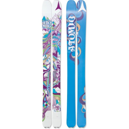 Ski The women's Atomic Century skis offer high flotation and versatile performance as they escort you into untouched powder. Atomic Century skis were made for the deepest of the deep, the fluffiest of the fluff, and the softest of the soft, but they also transition well onto groomed runs. 100mm waist and lightweight design floats and turns with ease in powder. Wood core provides smooth handling at high speeds and in deep powder snow. Rockered tips enhance flotation in the powder, and traditional camber underfoot enhances edge grip on firm snow. The traditional camber of the Century extends back farther toward the tail to enhance power at the end of the turn and increase control on groomed runs. Sidewall construction ensures maximum torsional rigidity, uncanny edge grip and controlled tip-to-tail flex; sidewall is reinforced in binding area with 2 layers of material. Half cap construction in tip and tail reduces swing weight and chipping when your skis bang together. Tails feature a clip that works with skins (skins not included). Atomic Century skis feature a graphite base that tunes beautifully and accepts wax readily. Requires bindings with wide brakes. Base or topsheet color may vary from online photo. - $298.83